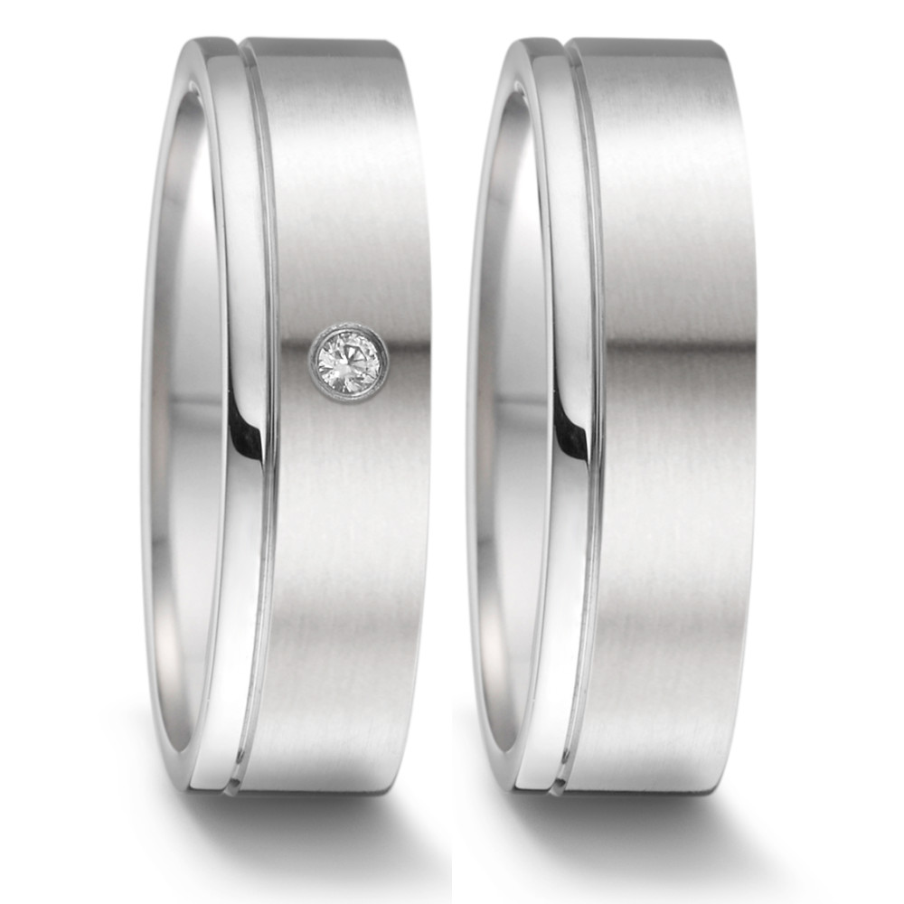 Partnerring TeNo Ring TaMoR mit Brillant 0,02 ct TWsi satiniert-poliert (2/3-1/3)  069.1312.D58.XX