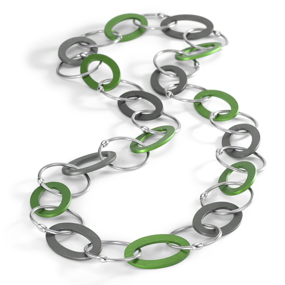 "Collier TeNo Kette Endless ""Apple Green loves Moonstone Grey"" aus Aluminium und Edelstahl 019.018OG2.80"