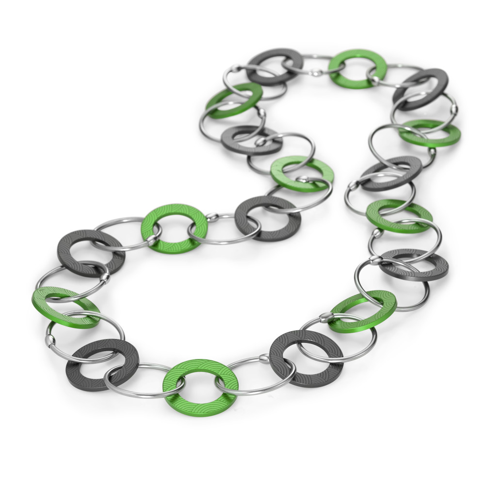 "Collier TeNo Kette Endless ""Apple Green loves Moonstone Grey"" aus Aluminium und Edelstahl 019.018RG2.80"