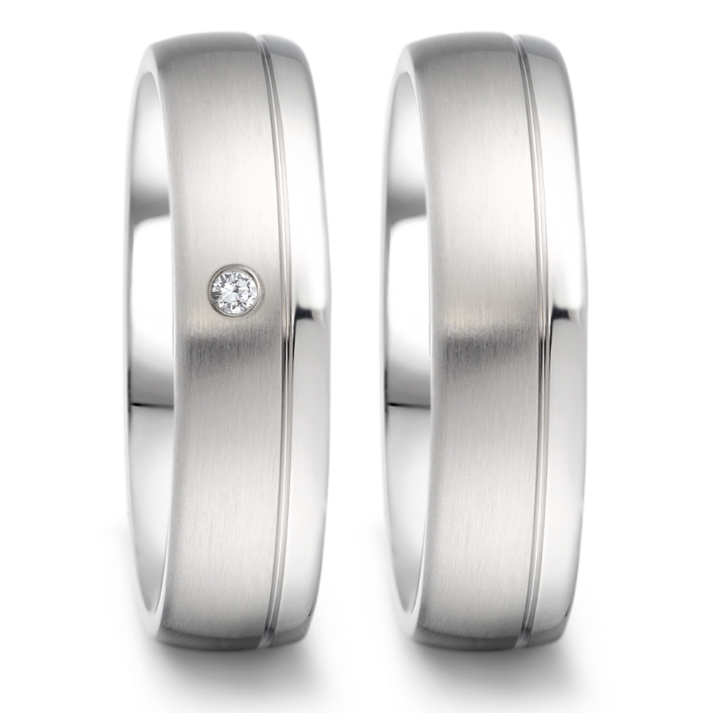 Partnerring TeNo Ring TaMoR aus Edelstahl glanz/ matt Optik mit Brillant 0,02 CaratTW/si  069.2512.D58.XX