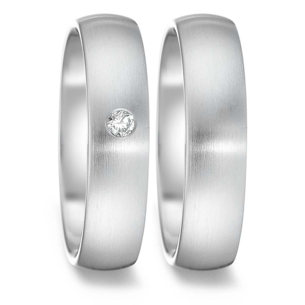 Partnerring TeNo Partnerring TAMOR SATIN, 0,04 ct TW/si, satiniert, Ringschiene: oval 5 mm - comfort fit  069.6214.XX
